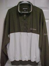 TaylorMade Men Khaki White 1/4 Zip Rain Golf Jacket Pullover Windbreaker L
