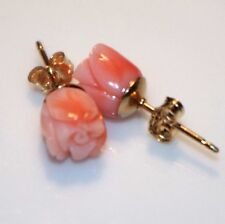 GEM QUALITY 14K GOLD FILL STUD ANGEL SKIN CORAL 6MM PETITE ROSE CARVED EARRINGS