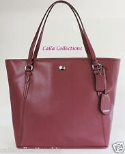 NEW COACH Peyton Leather Zip Top Tote Handbag/Purse–F27349 Silver/Merlot