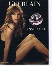 "PUBLICITE ADVERTISING 094 2008 GUERLAIN ""Insolence"" avec Hilary Swank"