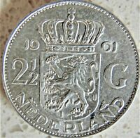 1961 NETHERLANDS Juliana, Silver 2-1/2 Gulden grading About UNCIRCULATED.