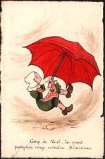Carte peinte. Bécassine s'envole. Aquarelle. Vers 1910