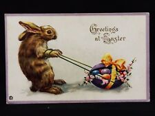 Antique Embossed Humanized Easter Bunny Rabbit Pulling Eggs Postcard (12)