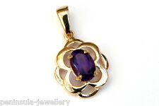 9ct Gold Amethyst Celtic necklace Pendant no chain Gift Boxed Made in UK Xmas
