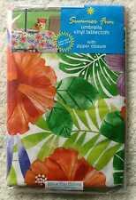 """Hibiscus & Palm Frond 52 x 70""""  Ob Outdoor Vinyl Umbrella Hole Zipper Tablecloth"""