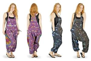 New Tie Dye Harem Dungarees Hippie Trousers up to Plus Size