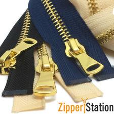 Heavy Duty No8 Polished Gold Teeth Zip/Metal Open End Zipper (G8OE)