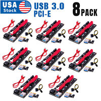 8PACK VER009S PCI-E Riser Card PCIe 1x to 16x USB 3.0 Data Cable Bitcoin Mining