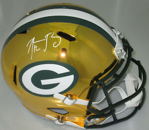 Packers AARON RODGERS Signed Full Size CHROME Speed Replica Helmet AUTO - MVP