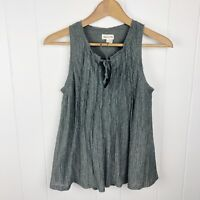 Anthropologie Meadow Rue Womens XS Crinkle Tie Neck Tank Grey Green Swing Q31