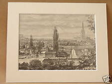 NORWICH FROM THE MEADOWS ANTIQUE ENGRAVING c1890 10X8
