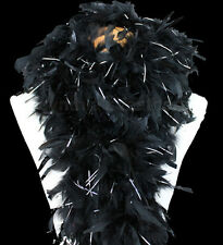 Black w/ Silver tinsel 100 Gram Chandelle Feather Boa Dance Party Halloween