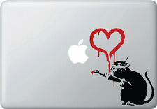 MB - LOVE Rat with Red Heart - Banksy Style - Vinyl Macbook Laptop Decal