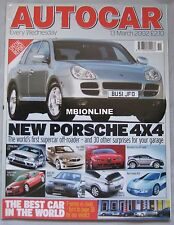 Autocar 13/3/2002 featuring Audi A8 W12, MG TF, Bentley, Mercedes, Range Rover