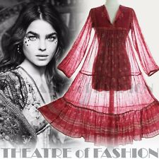 DRESS INDIAN PHOOL VINTAGE 70s WEDDING 6 8 10 12 14 60s HIPPY BOHO GAUZE GODDESS
