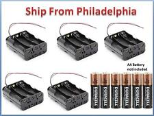 """Lot 5 Pcs New 6AA 2A Battery 9V Clip Holder Box Case with 6"""" Leads Black"""