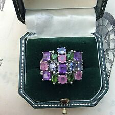 Cocktail Ring  Size R Sterling Silver Multi Coloured Stones