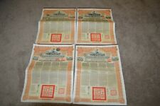 Lot of 4 ANTIQUE CHINESE GOVERNMENT GOLD LOAN OF 1913 BOND CERTIFICATE w Coupons