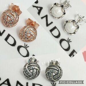 Genuine Pandora Earrings Studs Shimmering Knott Rose Gold, Silver & Pearl S925