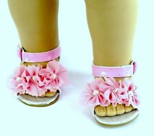 """Pink Flowers n Pearls Sandals for 18"""" American Girl Doll Shoes Widest Selection"""