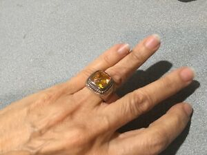 925 Sterling Silver LARGE FACETED CITRINE  Ring SZ 7 1/2