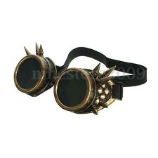 Rivet Vintage Gothic Steampunk Goggles Glasses Welding Cyber Punk Brass Cospla