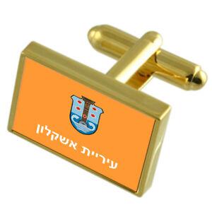 Ascalon City Israel Gold Flag Cufflinks