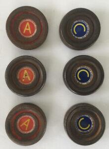 Lot Of 6 Vintage 1940s American Cabinet Co. Metal Shuffleboard Pucks