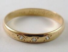 100% Genuine Vintage 18K Solid yellow Gold Eternity Band Ring with 3 Diamonds