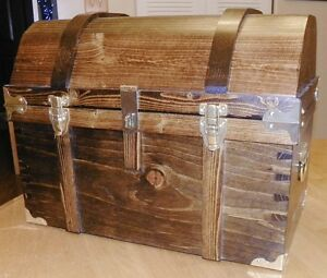 Large Handcrafted Pirate Treasure Chest - Walnut Color - All Wood with Brass