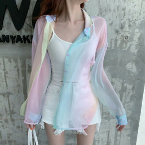 Pastel Rainbow See-through Top Long Sleeve Sheer Beach Cover Up Button Blouse