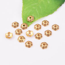 Craftdady 20Pcs Real Gold Plated Brass Flower Spacer Bead Caps 13x10mm Metal End Caps Terminators for DIY Jewelry Making