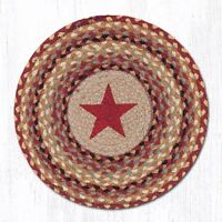 Capitol Importing 57-357BS 15 in. Burgundy Star Round Printed Placemat Rug