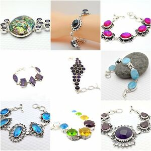 Bracelets Natural Gemstone Ladies Handmade Antiqued Sterling Silver Jewellery