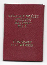 Hawker Siddeley Aviation Club (Hatfield) Life members Card 1969