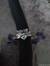 Diamonique Heart Shaped Stone Sterlin Silver Ring sz 8