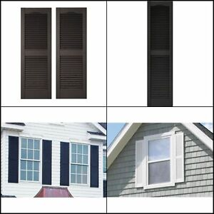 Black Louvered Vinyl Exterior Shutter With Hardware 15X60 in. 2-Piece Wood-grain