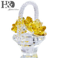Crystal Cutting Flower Basket,Handmade Glass Collectible Figurines Ornament Gift