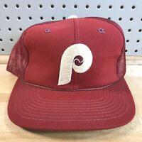 Vintage Philadelphia Phillies MLB Hat Snapback Baseball Trucker Mesh Cap 80's