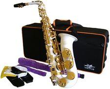 Venus ALTO SAXOPHONE  Sax - WHITE & GOLD,   Ready to Play,  Non Stick Pads NEW