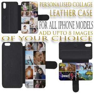 PERSONALISED CUSTOM COLLAGE PHOTO LEATHER FLIP WALLET CASE FOR iPHONE 8 PICTURES