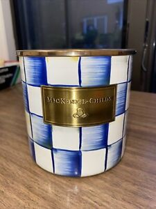 mackenzie-childs ROYAL CHECK small canister BRAND NEW NO LID* With Defect Blue