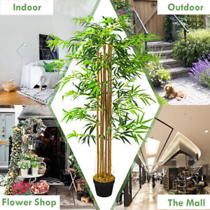 150cm Artificial Bamboo Plastic+Silk Tree Potted Plant Home Office Decor