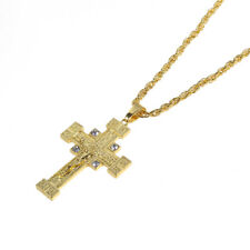 Hip Hop Necklace Men Gold Tone Cross Jesus Rhinestone Pendant Long Chain Jewelry