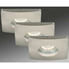 LED Einbauleuchten 3-er Set, 7239-032 Briloner, IP44, GU10 LED Nickel