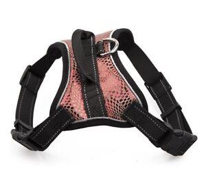 Dog Harness Vest Sparkling Leather Pet Reflective Breathable Mesh Chest Straps