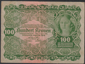 AUSTRIA BANK NOTE 1922 100K, CIRCULATED WITH FEW FOLDS, NO TEAR