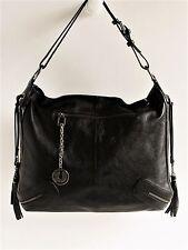 "CHARLES JOURDAN Paris New ""Malika"" Black Leather Large Shoulder Bag MSRP $405"