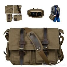 Bag Case Accessories S-Zone Vintage Look Canvas Leather DSLR Camera Shoulde