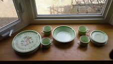 Mikasa Country Store Needlepoint Plates, Cups, Saucers, Serving Bowl Set of 16